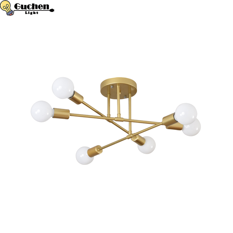 Золотой современный потолочный светильник для дома, кухни, гостиной, прихожей, светильников, светильник, железный e27 прикроватный, крытое кр