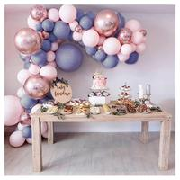 Macaron Balloons Arch Garland Kit Pastel Gray Pink Balloons Rose Gold Confetti Globos Wedding Party Decor Baby Shower Supplies