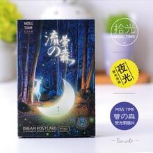 Optical Pickup Boxed Postcard [Fireflies-No-Mori-Night Light] (30 Sheets into) Creative Night Light Beautiful Illustration Cards
