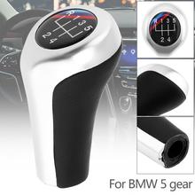 5 Speed ABS Plastic+ Leather Chrome Silver Car Manual Gear Shift Handball Knob fit For BMW 1 / 3 / 5 / 6 Series / 5 Gears Models