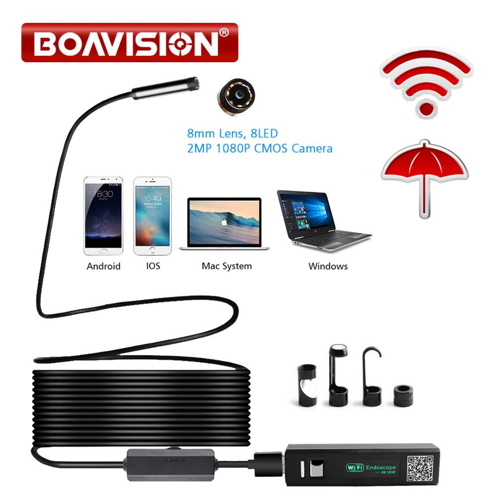 Full HD 1200P 2MP WI-FI Endoscope Camera Wireless 8mm 8 LED Snake Rigid Cable Waterproof USB Borescope Camera IOS Android Use