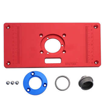Aluminum Router Table Insert Plate W / 2 Router Insert Rings For Woodworking Benches Router RT0700C Wood Tools DorpShipping
