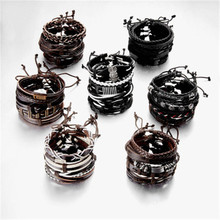 Vintage Multiple Charm Bracelets Set For Men Woman Fashion Wristbands Owl Leaf Leather Bracelet Bangles 2019 Jewelry party new