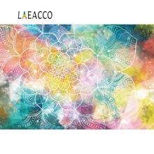 Laeacco Old Ancient Mandala Flower Pattern Fantasy New Year Party Wallpaper Watercolor Photo Backgrounds Photography Backdrops