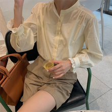 Elegant Office Lady Blouse Puff Sleeve Lace Hem Cute Shirt Women Top Spring Autumn Blusa Mujer Chemisier Femme(China)