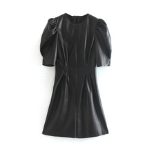 Faux Leather Dress Women Sexy Club Puff Short Sleeve Bodycon Party Dres