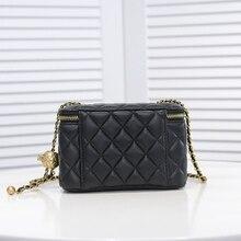 New Classic Women's Genuine Leather Shoulder Bag Diamond Lattice Thread Ladies Cosmetic Bag Make Up Bag Square box