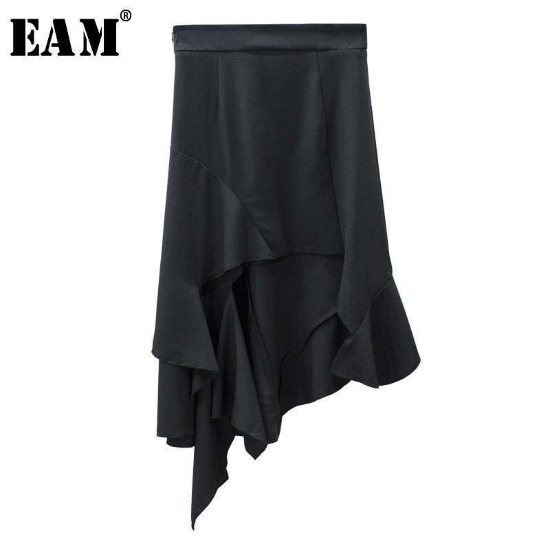 Special Benefits [EAM] 2020 New Spring Fashion Tide Simple All-match Patchwork Ruffles Asymmetrical High Waist Woman Skirt S480