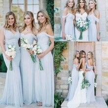 Великолепные драпированные небо синий off-плечи пляж длинное Boho платья невесты 2020 богемный свадьба платье гость