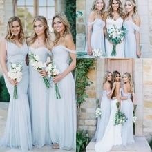 Gorgeous Draped Sky Blue Off-shoulder Beach Boho Long Bridesmaid Dresses 2020 Bohemian Wedding Party Guest Gown