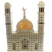 Ramadan Countdown Calendar Party-Decor Eid Mubarak Wooden DIY Ornament Drawer New