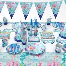 Juego de vajilla desechable para fiesta de cumpleaños, servilletas, platos, tazas, mantel, bajo el mar, suministros para fiesta de Baby Shower