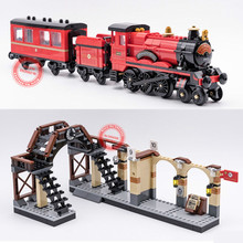New Movie Express Train Station Fit Legoings Technic Figures Blocks Bricks Model Potter Building Toy Kid Gift Diy Boy Birthday new movie potter great wall house fit legoings castle figures building blocks bricks model kid toys children kid gift birthday