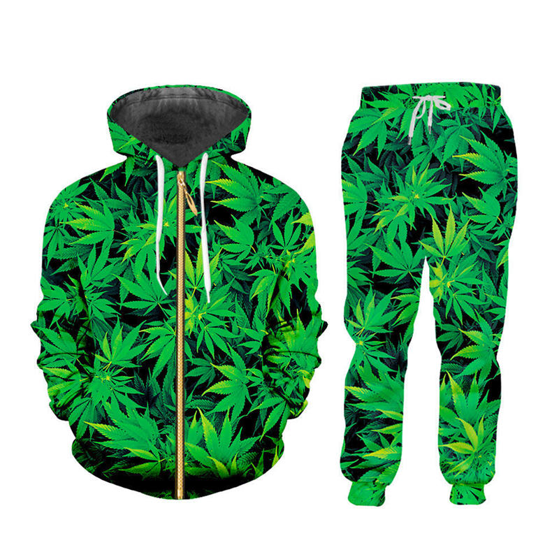 Big Size S-6XL Zip Up Hoodies+Joggers Pants Men 2 Piece Sets Harajuku 3d Green Weed Leaf Print Unisex Casual Tracksuit Custom