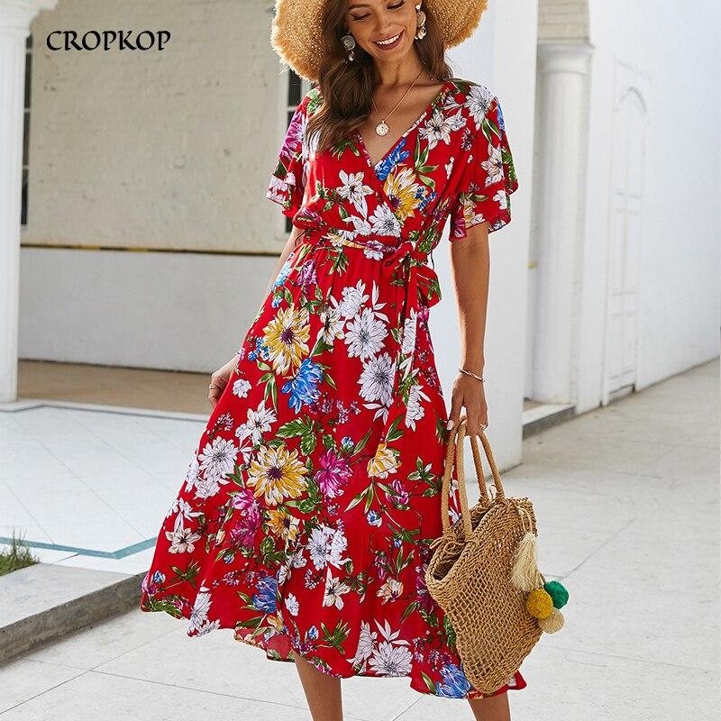 Летнее платье с цветочным принтом и оборками, v-образный вырез, длинные пляжные женские платья, хлопковый желтый сарафан, модная женская оде...