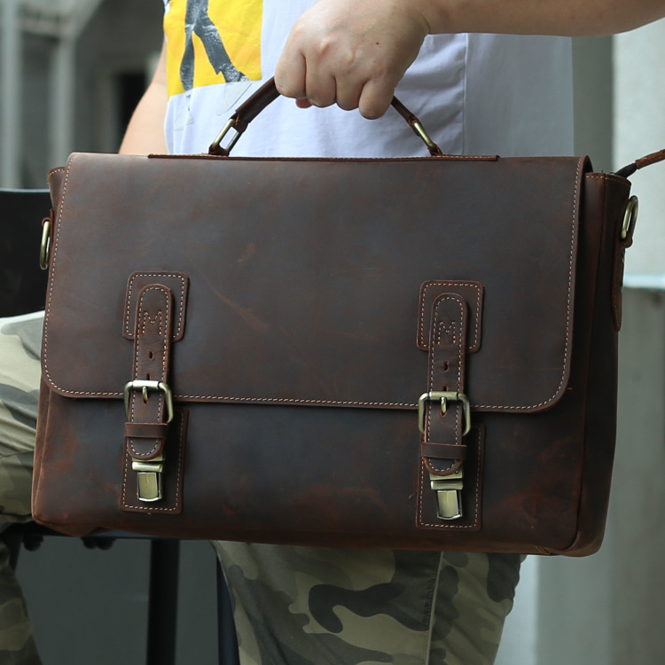 MAHEU  Crazy Horse Leather Briefcase Business Bag Real Cowskin Men Male Handbags Laptop Bag 15.6 Inch Genuine Leather Brief Case