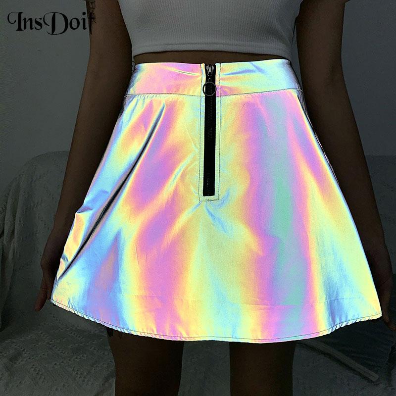 InsDoit Gothic Harajuku Reflective Skirt Female A-line High Waist Mini Skirts Streetwear Punk Skirt  Clubwear Party Girl Skirts