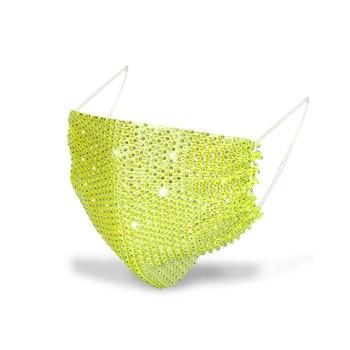 Fashion Design Unisex Rhinestone Mask Decorations Jewelry Face Elastic Mask Shiny Crystal Jewellery Party Dance Cosplay