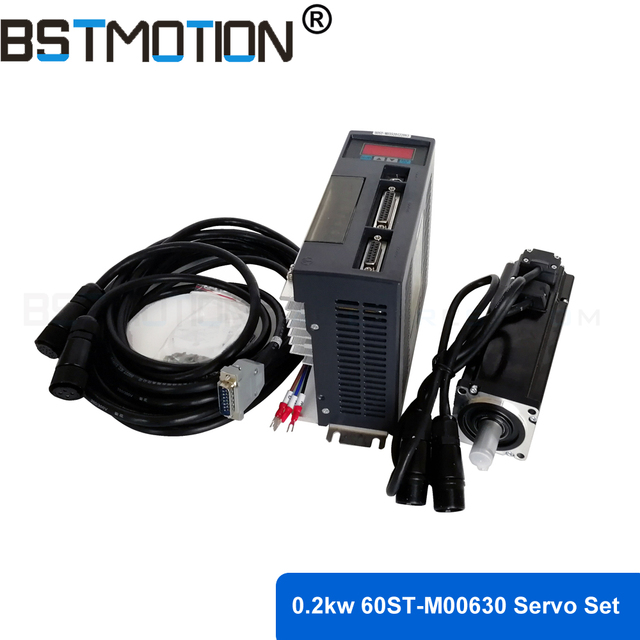 0.2kw Servo ชุดมอเตอร์ 200W 220V 60ST AC Servo มอเตอร์ 60ST M00630 ใน 0.637N. M 3000RPM ที่จับคู่ Servo DRIVER
