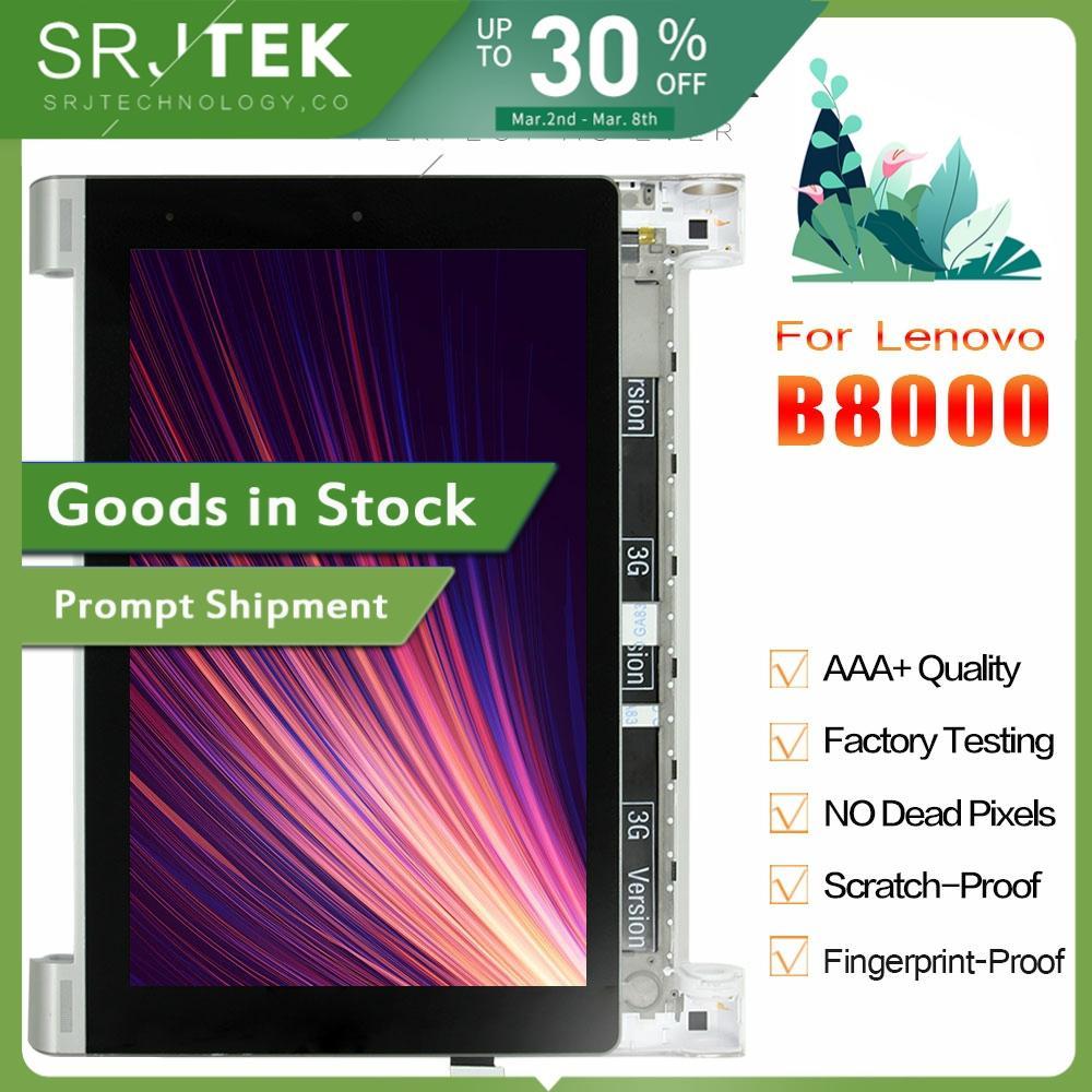 SRJTEK 10.1 LCD For Lenovo B8000 Yoga Tablet 10 60047 LCD Screen Matrix Display Touch Digitizer Sensor Full Assembly With Frame