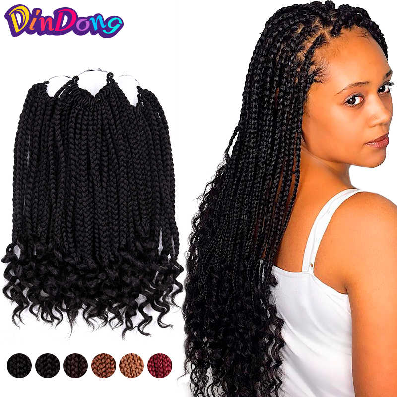 DinDong 12 Inch Box Braids Curly Ends Synthetic 24 Strands Crochet Hair Extensions 6 Color Available