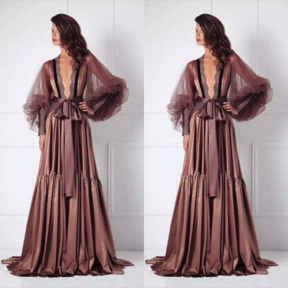 2019 Long Sleeves Night Robe Custom Made Lace Floor Length Sexy Bathrobes Women Sleepwear