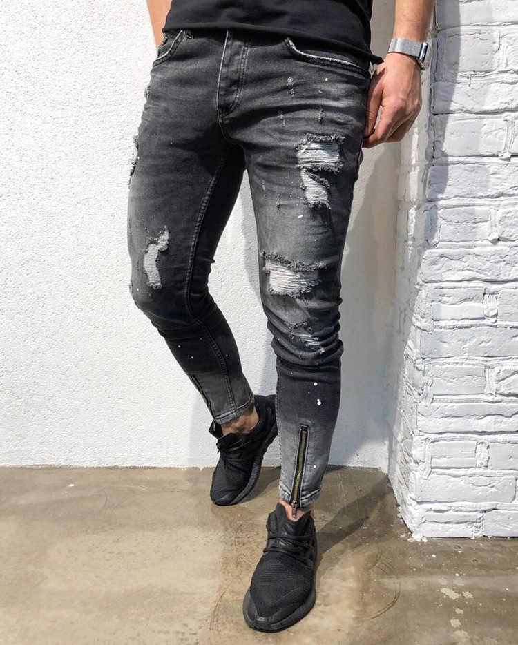 แฟชั่น Streetwear กางเกงยีนส์ผู้ชาย Vintage Blue สีบาง Ripped กางเกงยีนส์ Broken Punk กางเกง Homme Hip Hop กางเกงยีนส์ชาย