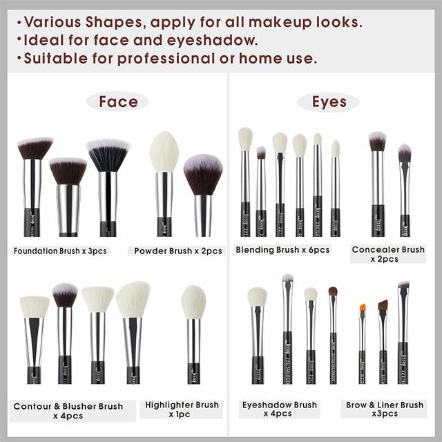 Jessup Black/Silver Makeup brushes set professional with Natural Hair Foundation Powder Eyeshadow Make up Brush Blush 6pcs-25pcs 3