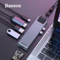 Baseus Hub Usb C Hub per Multi Usb 3.0 Adattatore Hdmi Usb Splitter per Il Macbook Pro Thunderbolt 3 Dock RJ45 dual Usb di Tipo C Hub Dex