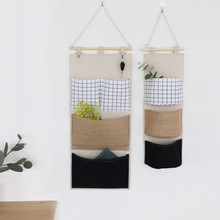 Simple style cotton and linen fabric Storage bag hanging bag large capacity Storage behind the door Hanging bag on the wall cotton waterproof three layer receive to hang bag simple cloth art wall hanging door after the sundry hanging bag storage bag