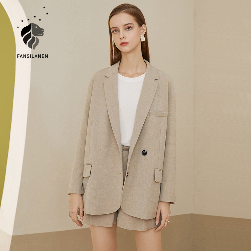 FANSILANEN Ladies office casual oversized blazer Women autumn winter short business black blazer suit Female gray jacket coat