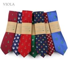 Necktie Xmas-Accessories Festival Tree Blue Green Christmas-Tie Men Gift Snowman 7cm