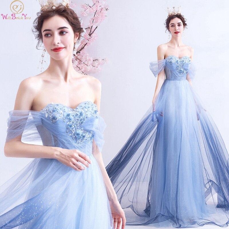 Gradient Blue A-Line Prom Dresses 2019 New Off The Shoulder Appliques Vestidos De Gala Long Formal Party Lace Up Evening Gowns