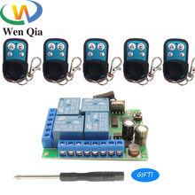 433Mhz Universal Wireless Remote Control RF Switch DC12V 4CH Relay Receiver With 4Buttons Transmitter For Car Lamp Electric Gate