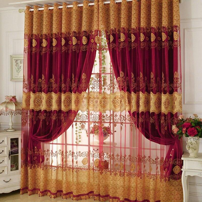Rideaux de fenêtre de luxe perlés pour salon Tulle + rideau occultant traitement de fenêtre/drapé en or/violet/rouge livraison gratuite