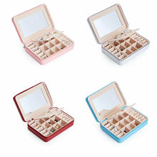2019 Newest Hot Womens Portable Travel Jewelry Box Organizer Luxury With Mirror PU Jewellery Ornaments Case Storage