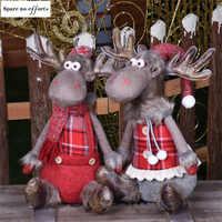 Santa Claus alce y muñeco De nieve decoración navideña estatuilla Regalos De Navidad para casa regalo De Navidad ornamento De árbol De Navidad