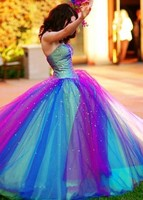 Blue and Purple Rainbow Tulle Quinceanera Dresses Sweetheart Corset Back Beads Ruffles Ball Gown Prom Dress