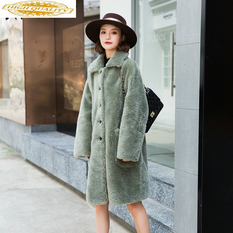 Autumn Winter Coat Women Clothes 2019 Sheep Shearing Real Fur Coat 100% Wool Jacket Women Korean Fashion Fur Tops A19Y080 YY2004