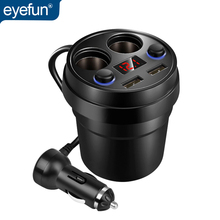 Eyefun רכב מטען כוס רכב מטען טלפון נייד מטען לרכב USB הכפול אחת עבור ארבעה לשקע ספליטר