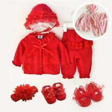 Одежда для новорожденных девочек 0 3 месяцев комплект с длинным рукавом зима осень весна комплекты 0 3 месяца 1 год День рождения Розовая обувь 3 6 9 месяцев