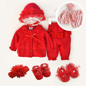 New Born Baby Girl Clothes 0-3 Months Long Sleeve Winter Fall Spring Set 0-3 Month Sets 1 Year Birthday Pink Shoes 3 6 9 Months(China)