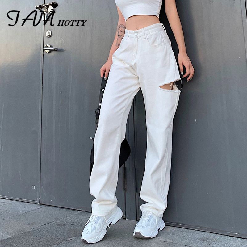 IAMHOTTY Ripped Hollow Out Women's pants Straight High Waist Baggy Jeans Joggers Sweatpants Cotton Casual Leggings Capris 2020