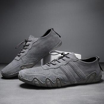 Calzado de hombre de talla grande 2020, zapatos de cuero de ante, mocasines para hombre, zapatos de cuero informales con cordones, zapatos de conducción suave para hombre