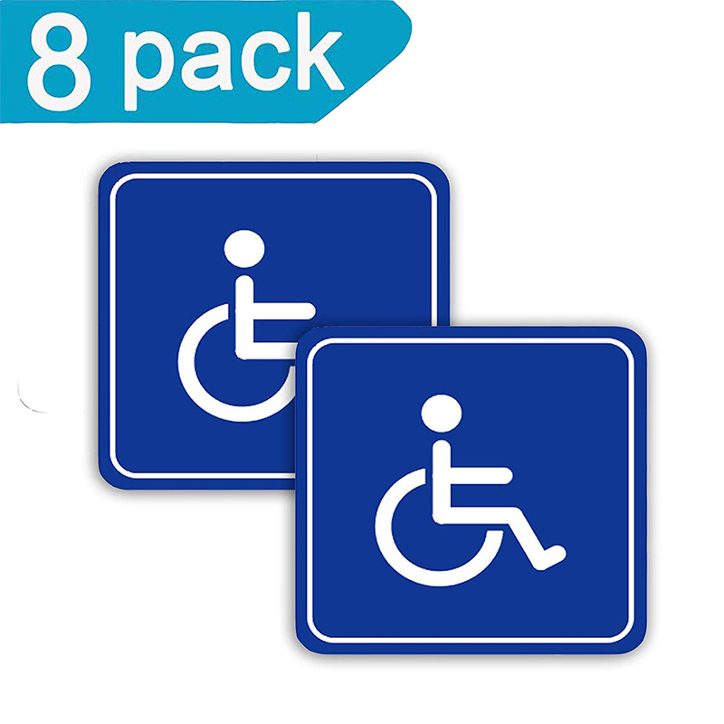 Disabled Wheelchair Symbol Sticker Label 8 Pack 3 Inch Disability Sticker Self-adhesive Vinyl Applique Sticker Label