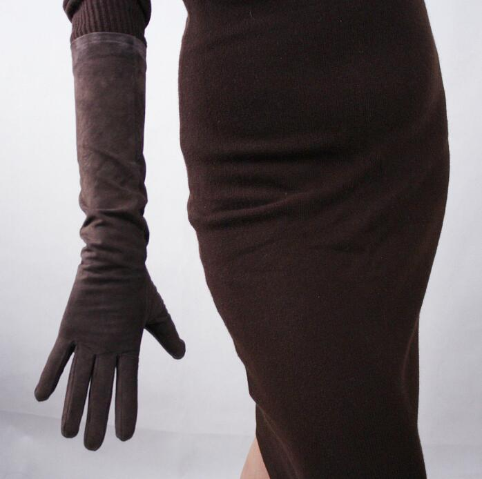Women's Brown Color Natural Suede Leather Glove Female Genuine Sheepskin Leather Long Driving Glove 44cm R2675