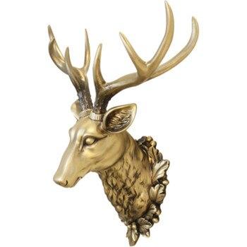 Big Deer Head Statue Home Decoration 3D Animal Abstract Sculpture Wall Hang Decor Christmas Statue Living Room Mural A659