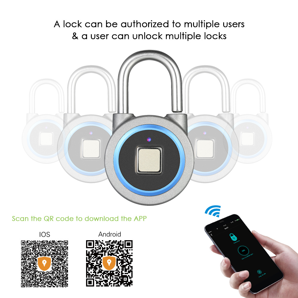 Smart Keyless Fingerprint Lock Waterproof APP / Finger Print Unlock Anti-Theft Security Padlock Door Luggage Case Lock