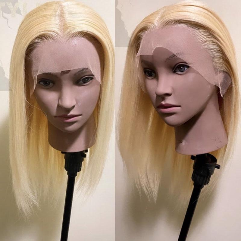Medium Length Silky Straight Human Hair Blonde Wig Transparent Lace Cap Silk Base Wig Brazilian Remy Hair Blond Wig