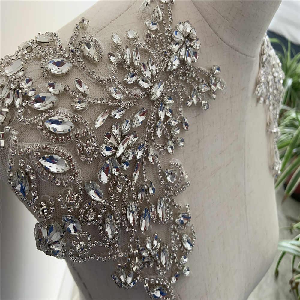 heavy bead handmade rhinestone applique for couture 2pcs Red Rhinestone bead applique